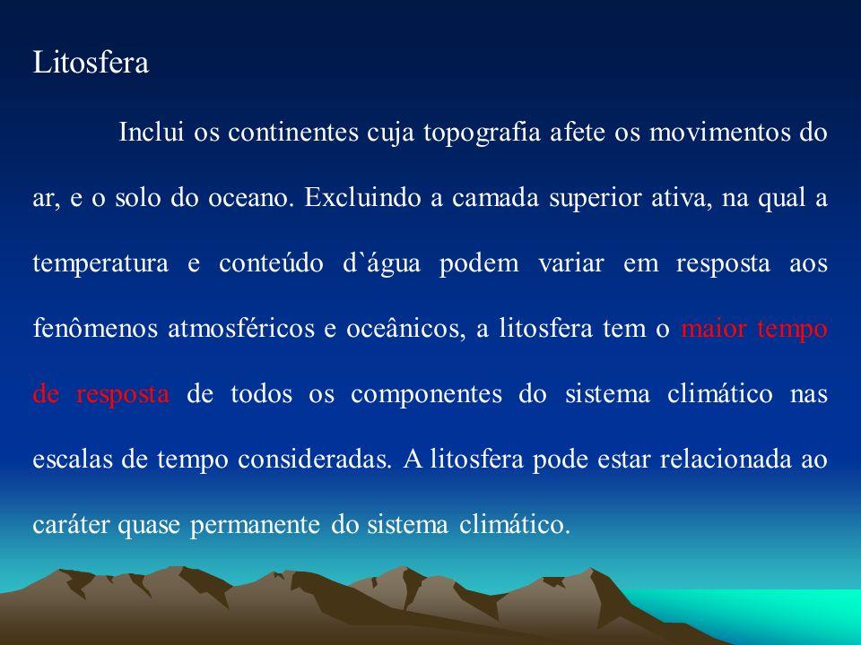 Litosfera Inclui os continentes cuja topografia afete os movimentos do ar, e o solo do oceano. Excluindo a camada superior ativa, na qual a temperatur