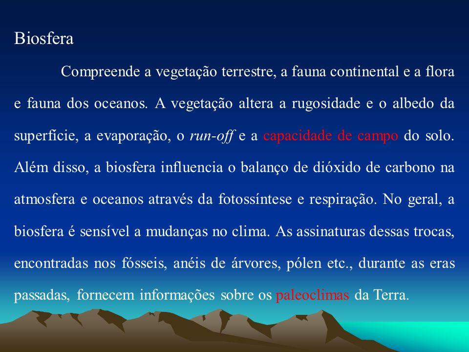 Biosfera Compreende a vegetação terrestre, a fauna continental e a flora e fauna dos oceanos. A vegetação altera a rugosidade e o albedo da superfície