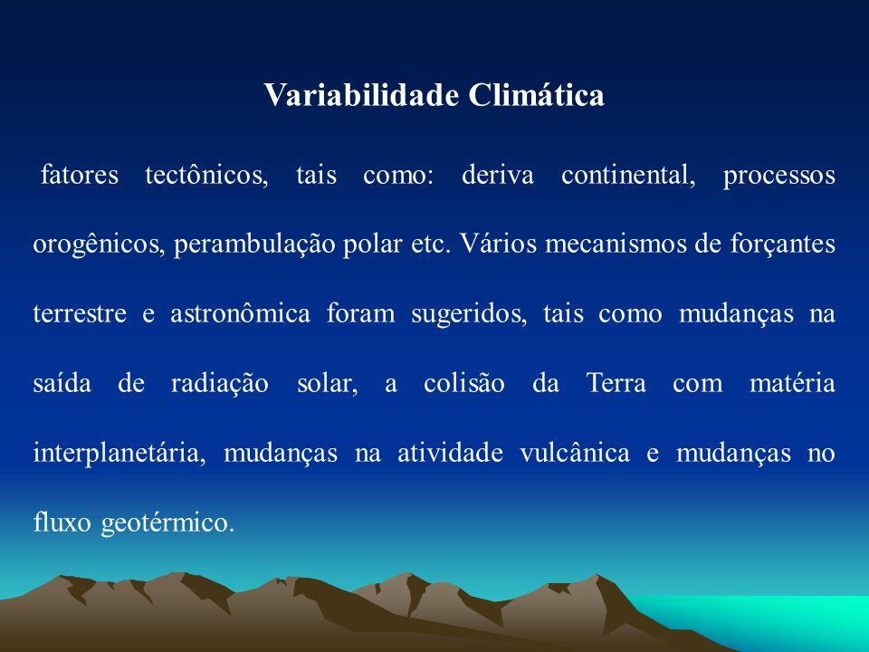 Variabilidade Climática fatores tectônicos, tais como: deriva continental, processos orogênicos, perambulação polar etc. Vários mecanismos de forçante