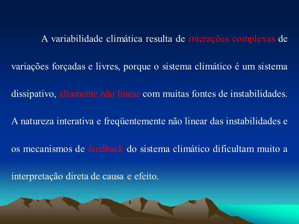 A variabilidade climática resulta de interações complexas de variações forçadas e livres, porque o sistema climático é um sistema dissipativo, altamen