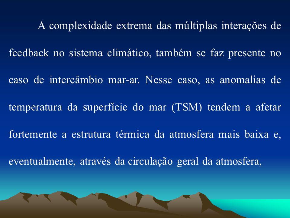 A complexidade extrema das múltiplas interações de feedback no sistema climático, também se faz presente no caso de intercâmbio mar-ar. Nesse caso, as
