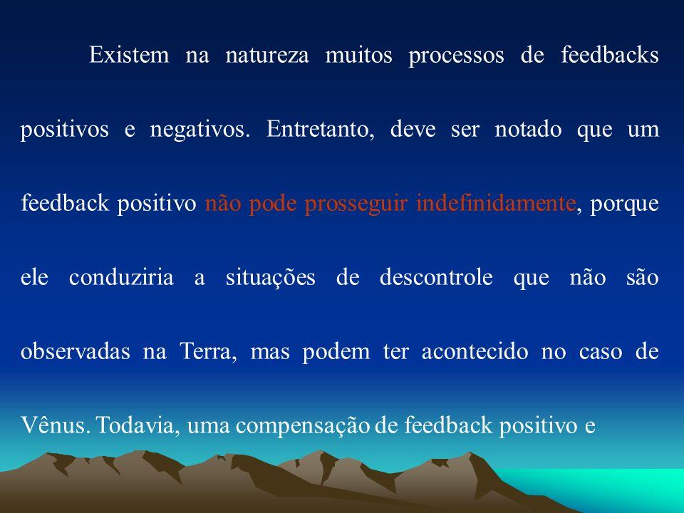Existem na natureza muitos processos de feedbacks positivos e negativos. Entretanto, deve ser notado que um feedback positivo não pode prosseguir inde