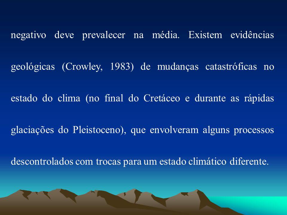 negativo deve prevalecer na média. Existem evidências geológicas (Crowley, 1983) de mudanças catastróficas no estado do clima (no final do Cretáceo e