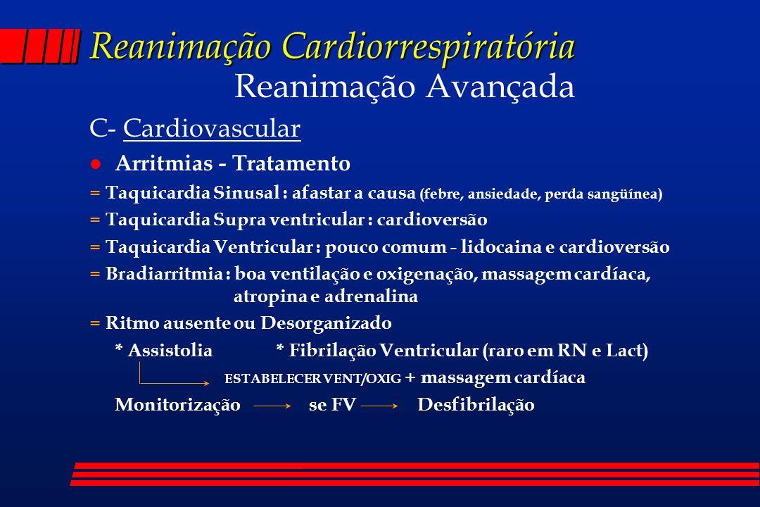 Reanimação Cardiorrespiratória Reanimação Avançada C- Cardiovascular l Arritmias - Tratamento = Taquicardia Sinusal : afastar a causa (febre, ansiedad