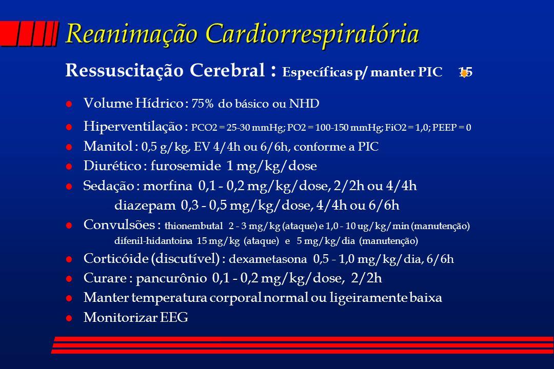 Reanimação Cardiorrespiratória Ressuscitação Cerebral : Específicas p/ manter PIC 15 l Volume Hídrico : 75% do básico ou NHD l Hiperventilação : PCO2