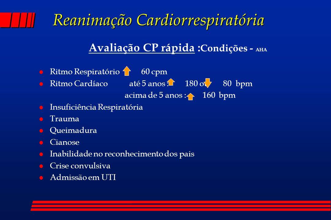 Reanimação Cardiorrespiratória Avaliação CP rápida : Condições - AHA l Ritmo Respiratório 60 cpm l Ritmo Cardíaco até 5 anos : 180 ou 80 bpm acima de