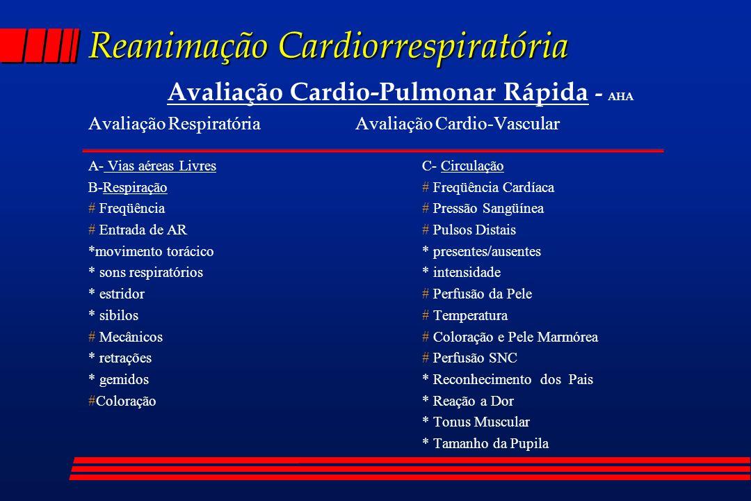 Reanimação Cardiorrespiratória Avaliação CP rápida : Aplicações - AHA Podemos estar diante de Quatro Situações : l Função Cardiopulmonar Estável l Possivelmente em Choque ou Insuficiência Respiratória l Definitivamente em Choque ou Insuficiência Respiratória l Parada Cardiopulmonar obs.