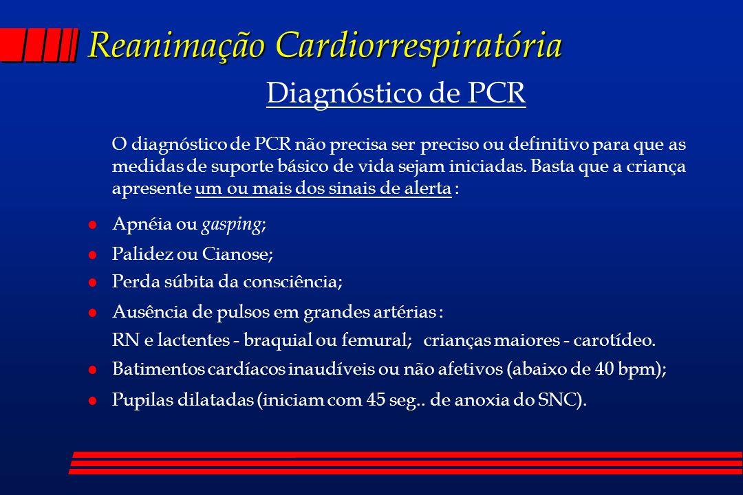 Reanimação Cardiorrespiratória Diagnóstico de PCR O diagnóstico de PCR não precisa ser preciso ou definitivo para que as medidas de suporte básico de