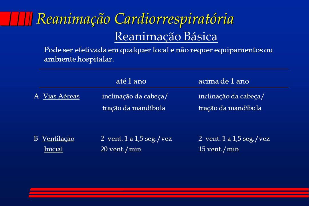 Reanimação Cardiorrespiratória Reanimação Avançada C- Cardiovascular l Massagem Cardíaca Externa = Local : 1/3 médio ou, atualmente, 1/3 inferior do esterno = Efetividade : presença de pulso periférico, pressão arterial média ou verificacão de onda no monitor cardíaco = Relações Massagem/Ventilação e Freqüências : 5 : 1 Adolescente : 80/16; criança : 100/20; RN : 120/24 = Indicações de Início : Assistolia e ausência de pulso Lactente: abaixo de 80; criança : abaixo de 60 = A relação massagem e ventilação deve ser coordenada = Jamais socar o tórax de uma criança