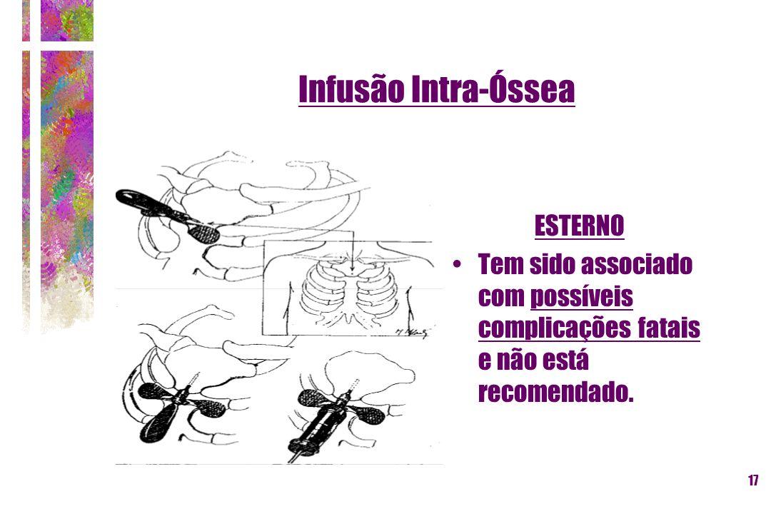 17 Infusão Intra-Óssea ESTERNO Tem sido associado com possíveis complicações fatais e não está recomendado.