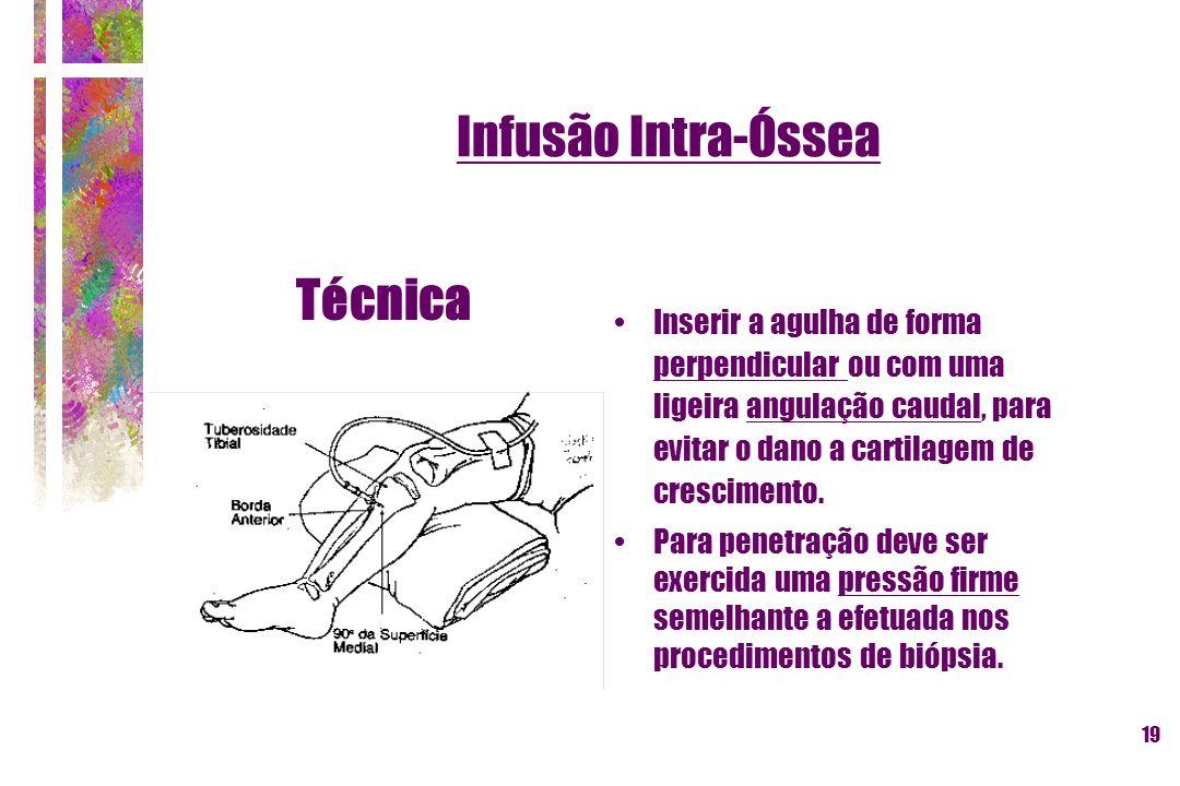 19 Infusão Intra-Óssea Inserir a agulha de forma perpendicular ou com uma ligeira angulação caudal, para evitar o dano a cartilagem de crescimento. Pa
