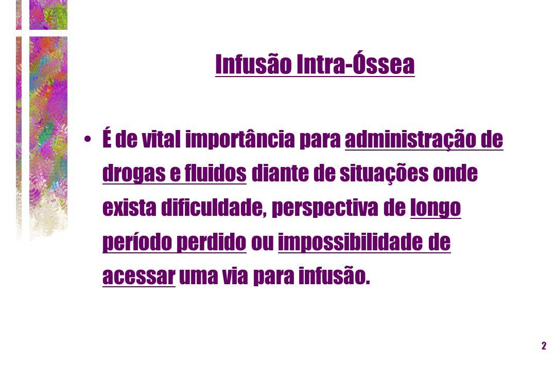 3 Infusão Intra-Óssea Motivos para sua utilização : Estabelecimento de acesso venoso : + de 10 minutos em 24% de vítimas com necessidade de reanimação cardiorrespiratória.