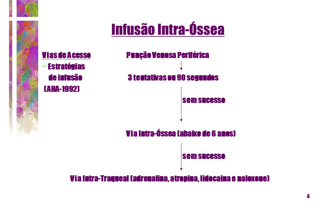 4 Vias de Acesso Punção Venosa Periférica = Estratégias de infusão 3 tentativas ou 90 segundos (AHA-1992) sem sucesso Via Intra-Óssea (abaixo de 6 ano
