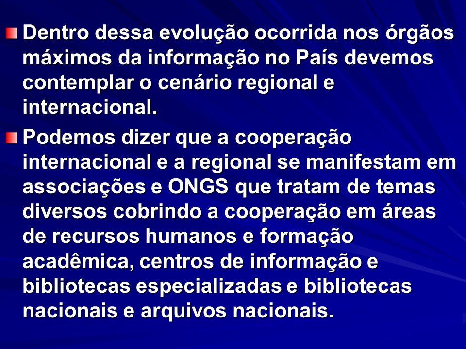 Dentro dessa evolução ocorrida nos órgãos máximos da informação no País devemos contemplar o cenário regional e internacional. Podemos dizer que a coo