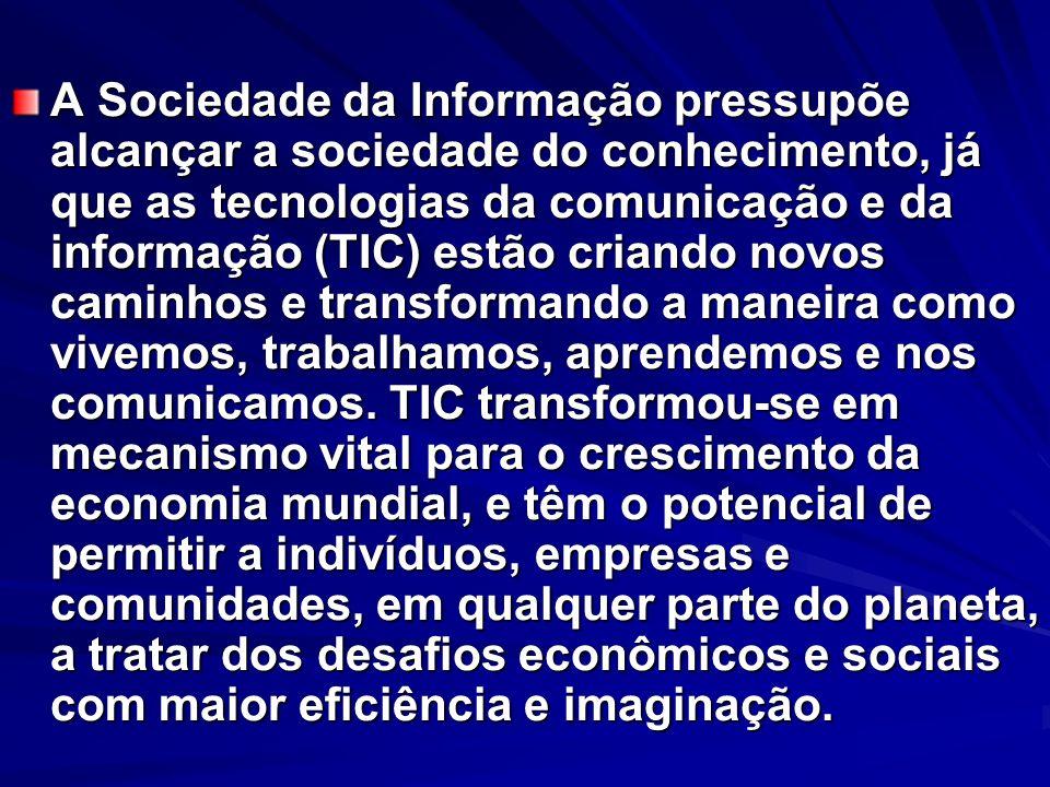 A Sociedade da Informação pressupõe alcançar a sociedade do conhecimento, já que as tecnologias da comunicação e da informação (TIC) estão criando nov