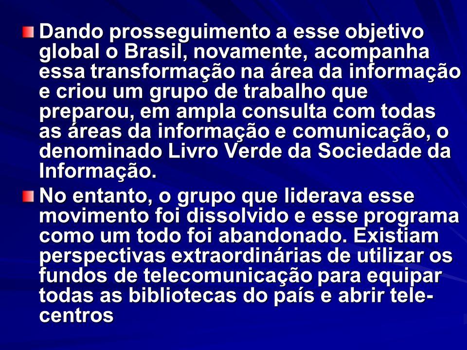 Dando prosseguimento a esse objetivo global o Brasil, novamente, acompanha essa transformação na área da informação e criou um grupo de trabalho que p
