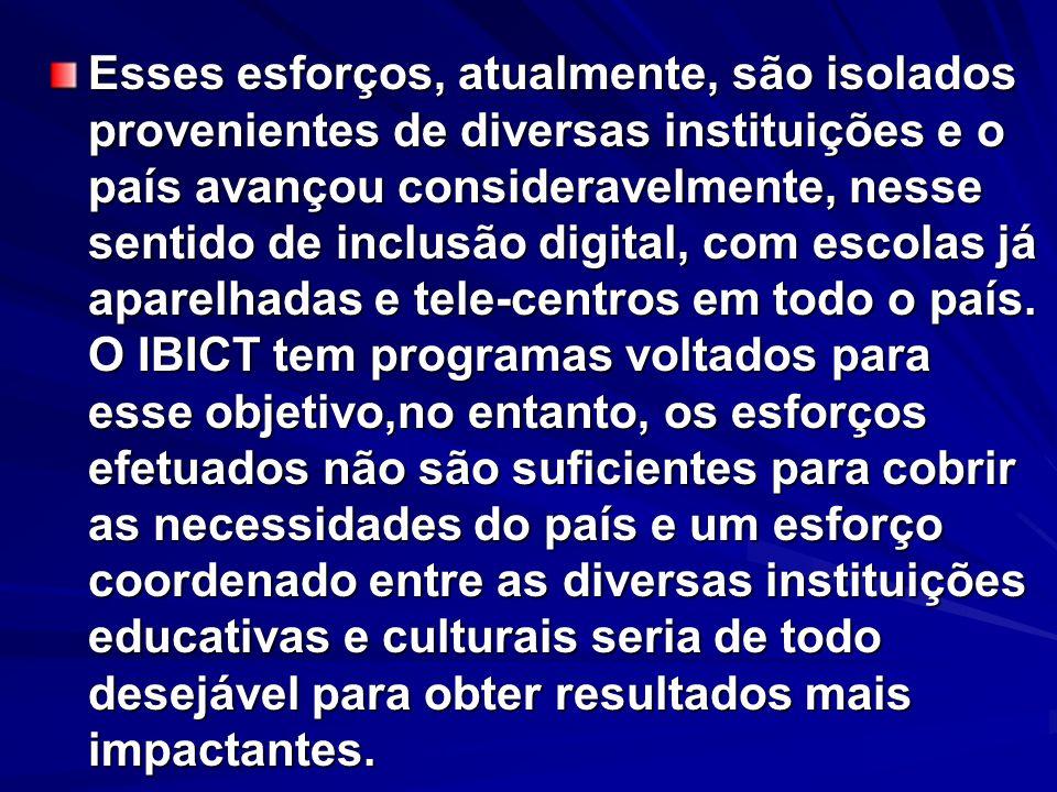 Esses esforços, atualmente, são isolados provenientes de diversas instituições e o país avançou consideravelmente, nesse sentido de inclusão digital,
