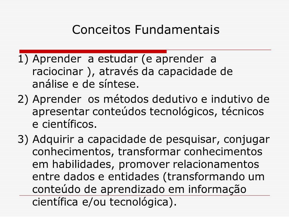 Conceitos Fundamentais 1) Aprender a estudar (e aprender a raciocinar ), através da capacidade de análise e de síntese. 2) Aprender os métodos dedutiv