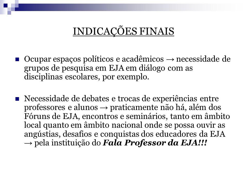 INDICAÇÕES FINAIS Ocupar espaços políticos e acadêmicos necessidade de grupos de pesquisa em EJA em diálogo com as disciplinas escolares, por exemplo.