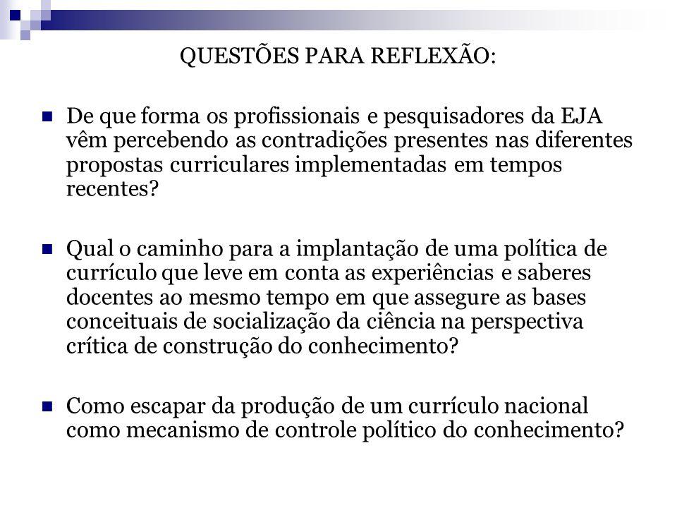 QUESTÕES PARA REFLEXÃO: De que forma os profissionais e pesquisadores da EJA vêm percebendo as contradições presentes nas diferentes propostas curricu
