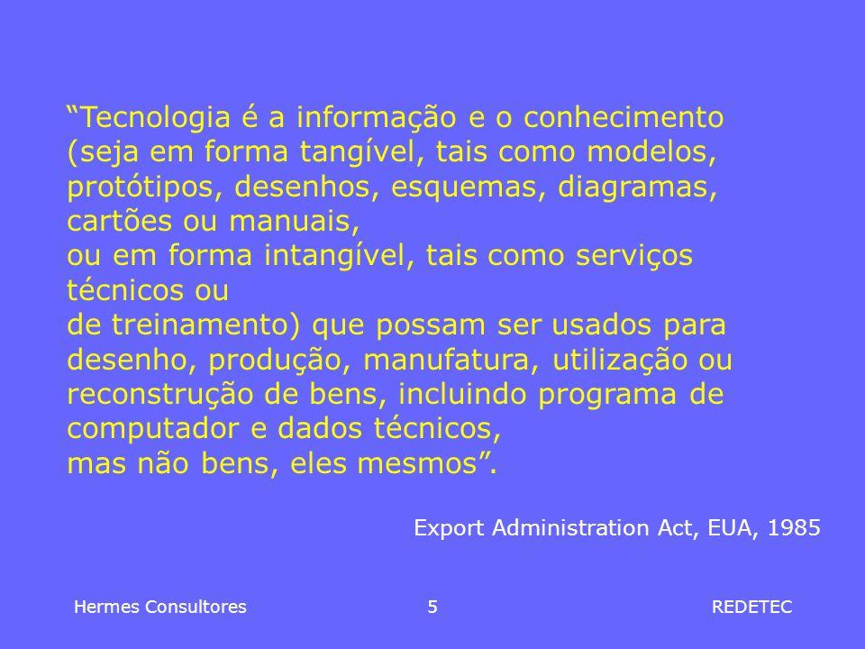 Hermes Consultores5REDETEC Tecnologia é a informação e o conhecimento (seja em forma tangível, tais como modelos, protótipos, desenhos, esquemas, diag