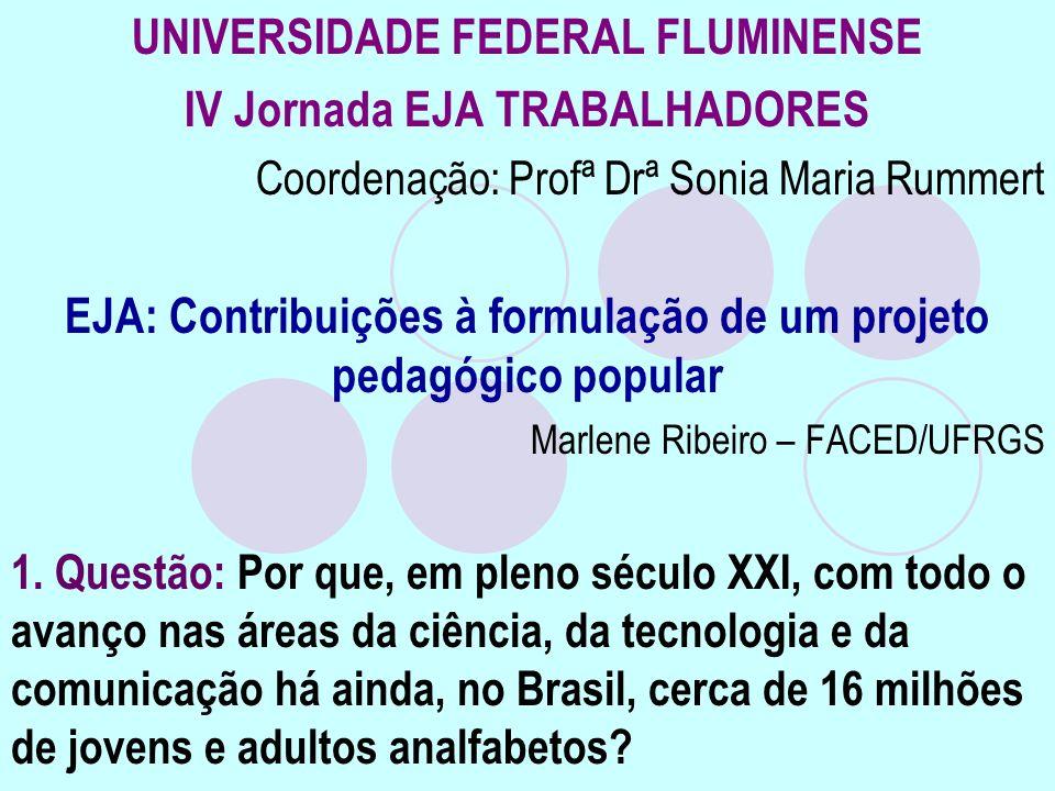 UNIVERSIDADE FEDERAL FLUMINENSE IV Jornada EJA TRABALHADORES Coordenação: Profª Drª Sonia Maria Rummert EJA: Contribuições à formulação de um projeto