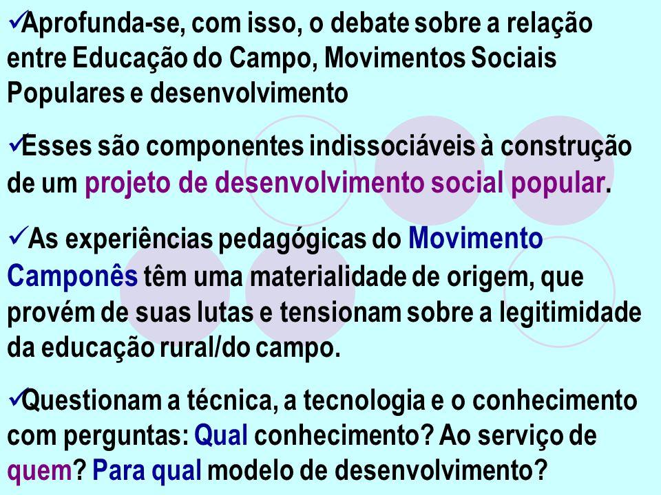 Aprofunda-se, com isso, o debate sobre a relação entre Educação do Campo, Movimentos Sociais Populares e desenvolvimento Esses são componentes indisso