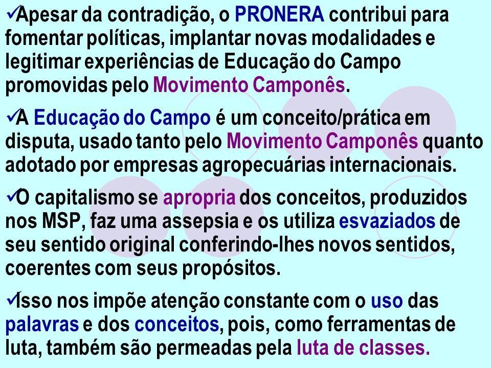 Apesar da contradição, o PRONERA contribui para fomentar políticas, implantar novas modalidades e legitimar experiências de Educação do Campo promovid