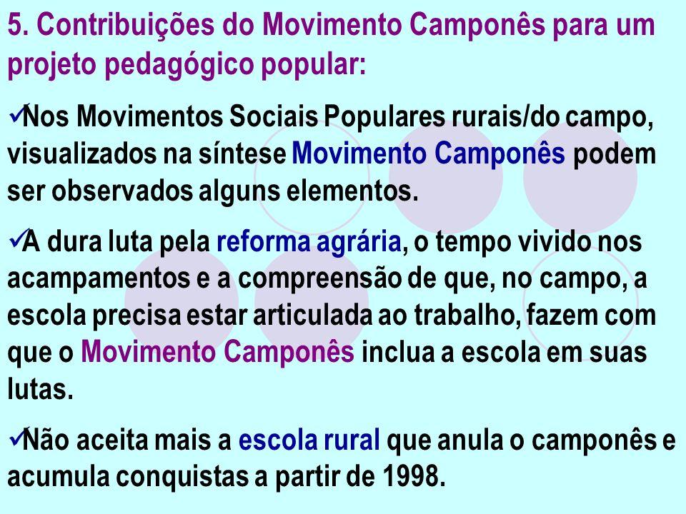 5. Contribuições do Movimento Camponês para um projeto pedagógico popular : Nos Movimentos Sociais Populares rurais/do campo, visualizados na síntese