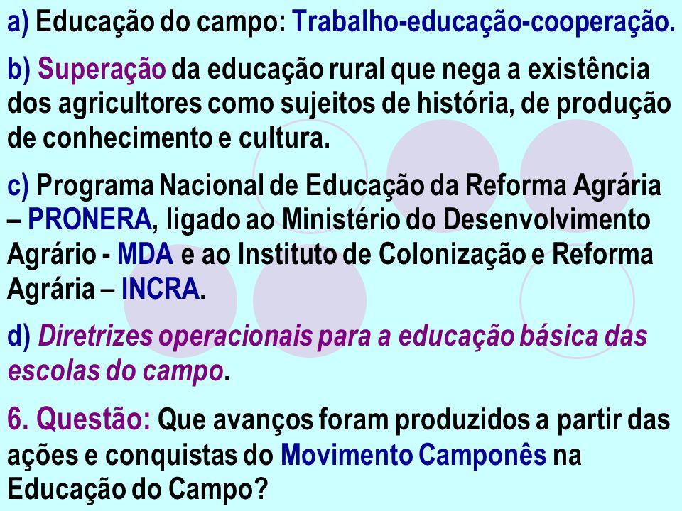 a) Educação do campo: Trabalho-educação-cooperação. b) Superação da educação rural que nega a existência dos agricultores como sujeitos de história, d