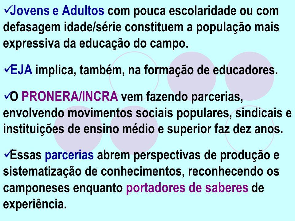Jovens e Adultos com pouca escolaridade ou com defasagem idade/série constituem a população mais expressiva da educação do campo. EJA implica, também,