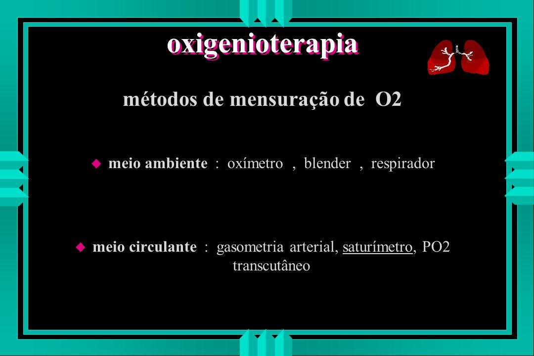 oxigenioterapia métodos de mensuração de O2 u meio ambiente : oxímetro, blender, respirador u meio circulante : gasometria arterial, saturímetro, PO2