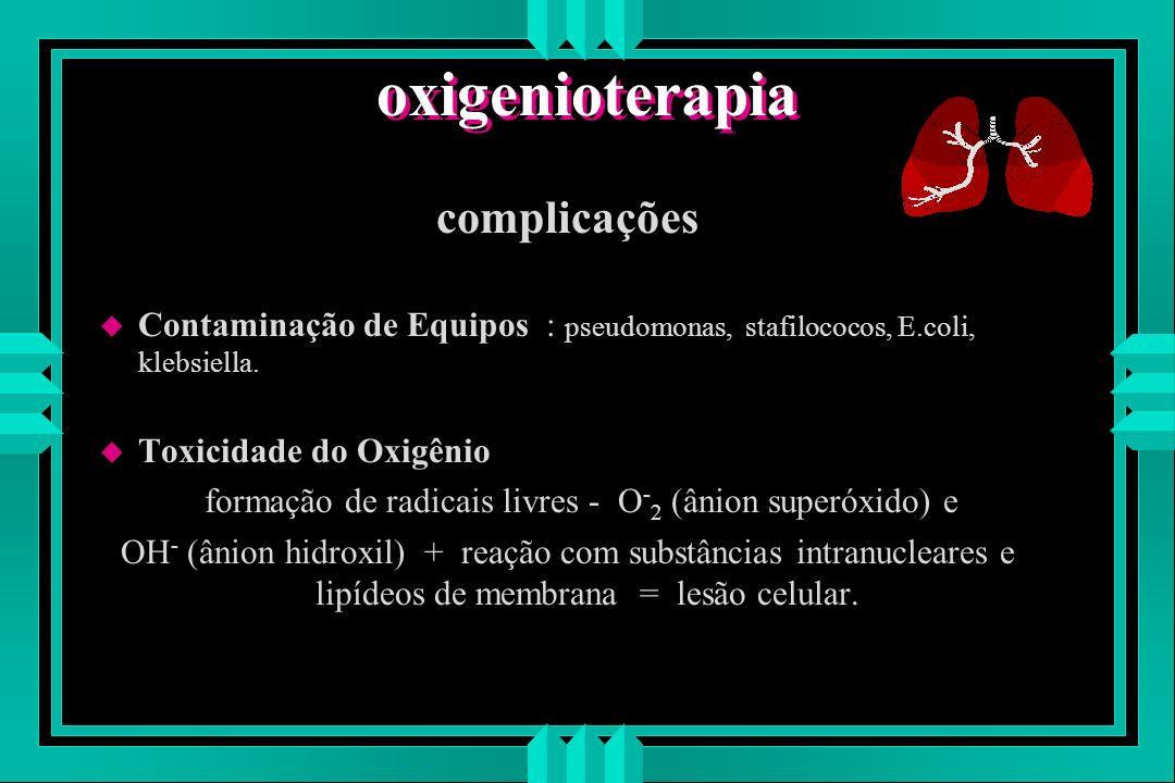 oxigenioterapia complicações u Contaminação de Equipos : pseudomonas, stafilococos, E.coli, klebsiella. u Toxicidade do Oxigênio formação de radicais