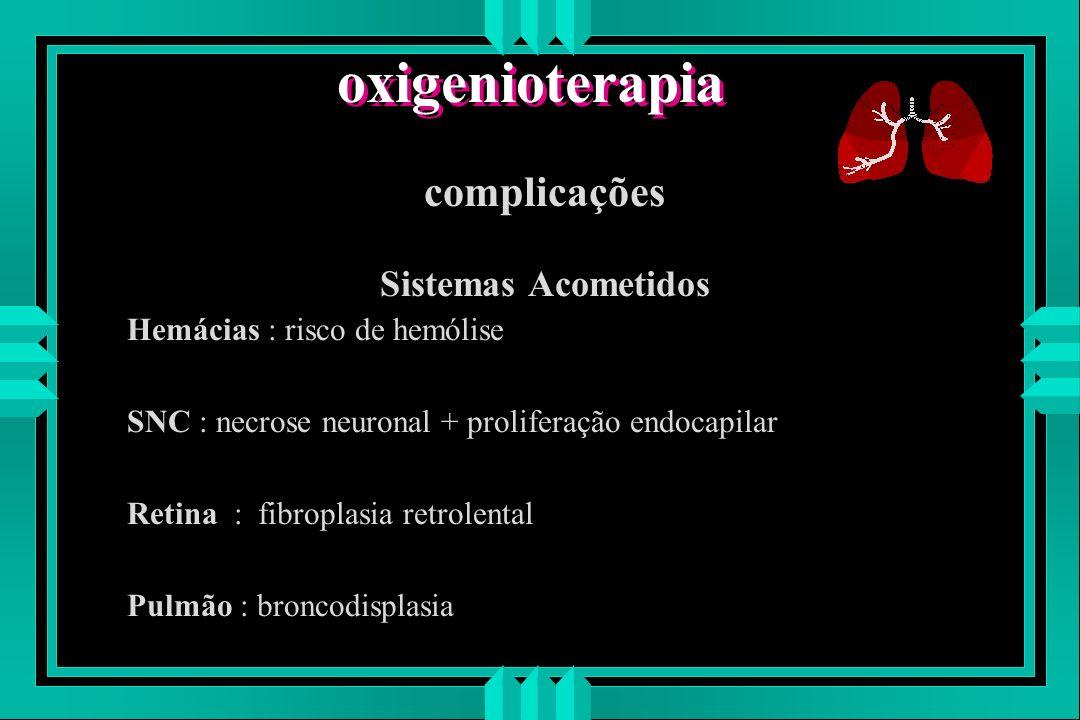 oxigenioterapia complicações Sistemas Acometidos Hemácias : risco de hemólise SNC : necrose neuronal + proliferação endocapilar Retina : fibroplasia r