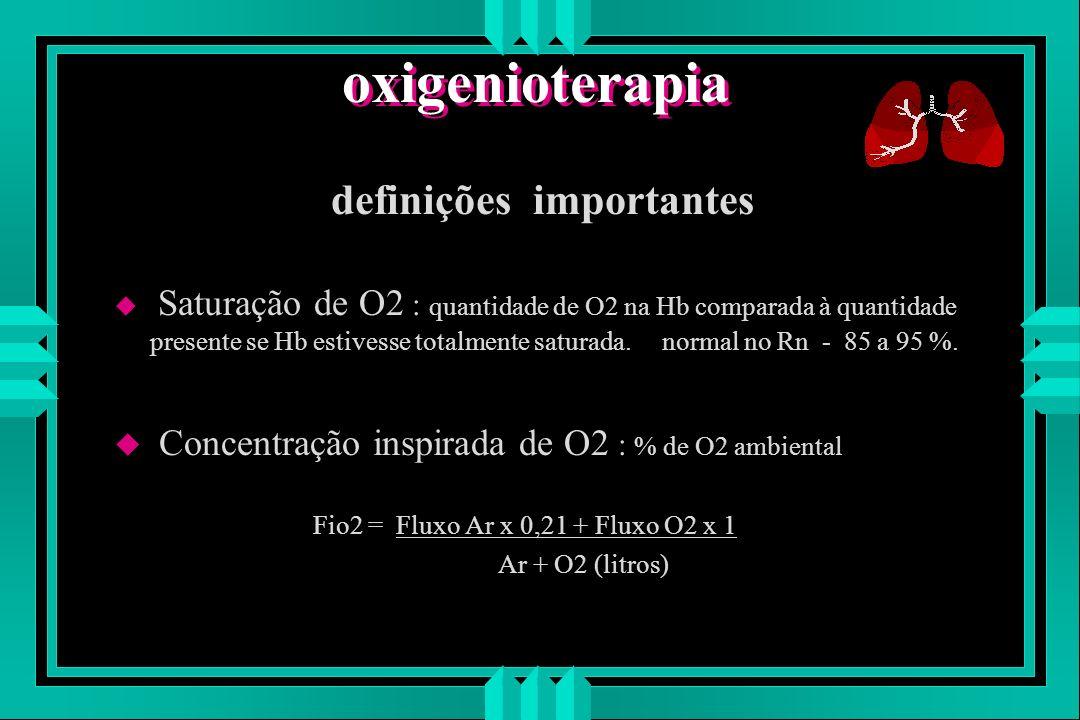 oxigenioterapia definições u Pressão parcial de O2 (PaO2) : força que determina o grau no qual o O2 se moverá de um compartimento a outro.