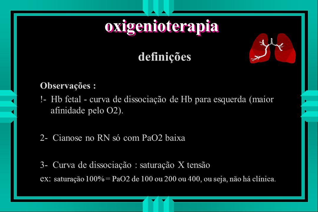 oxigenioterapia definições Observações : !- Hb fetal - curva de dissociação de Hb para esquerda (maior afinidade pelo O2). 2- Cianose no RN só com PaO