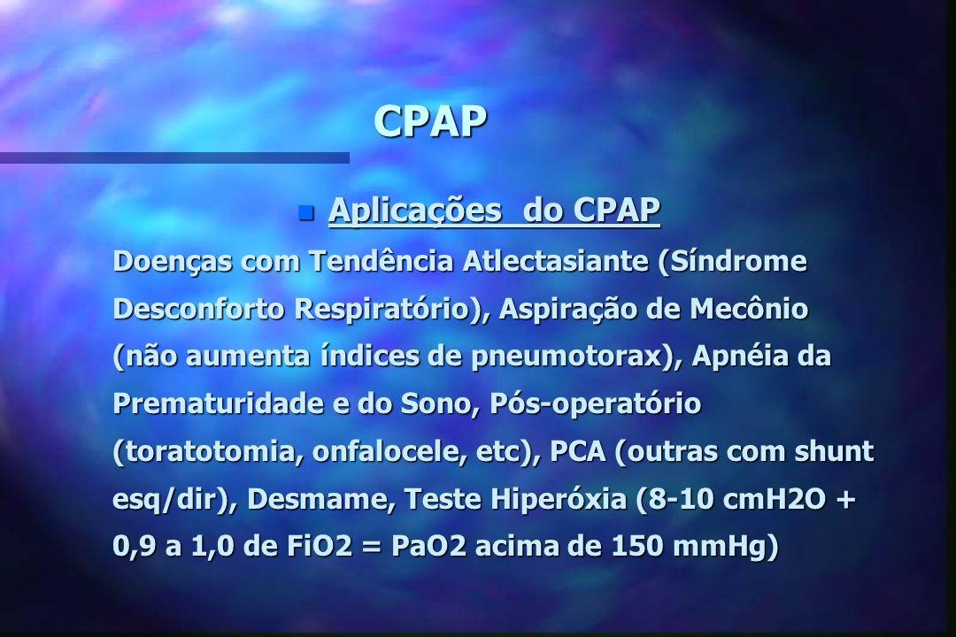 CPAP n Efeitos do CPAP Vantagens (4-8 cmH2O) Desvantagens (10-12 cmH2O) Capacidade Residual FuncionalDébito Cardíaco e Retorno Venoso Capacidade Resid
