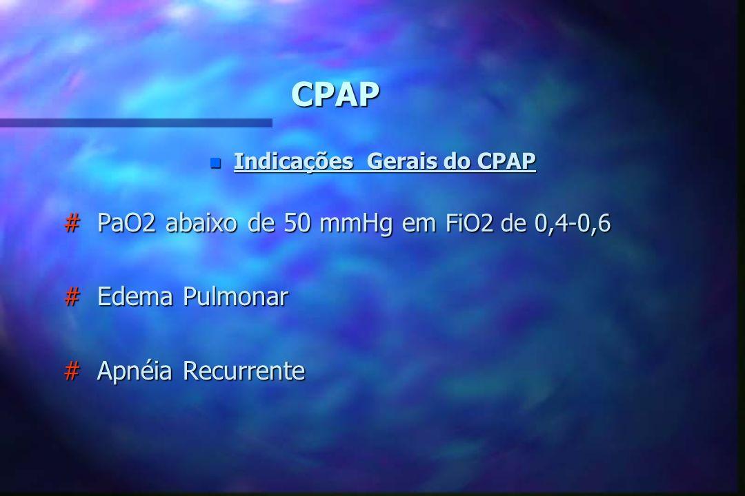 CPAP n Aplicações do CPAP Doenças com Tendência Atlectasiante (Síndrome Desconforto Respiratório), Aspiração de Mecônio (não aumenta índices de pneumo