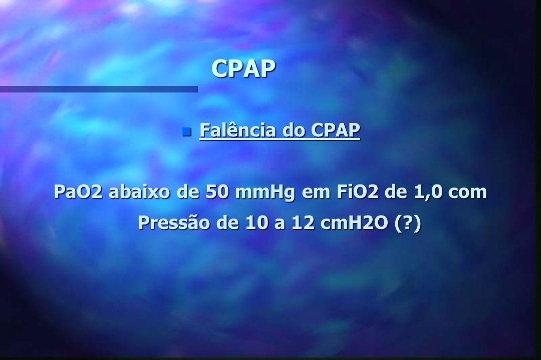 CPAP n Manejo do CPAP Iniciar pressão de 5-6 cmH2O Gaso PaO2 50 15-20 min. 15-20 min. FiO2 5 a 10% até 100% FiO2 5 a 10% até 100% PaO2 Gaso Máximo Aum