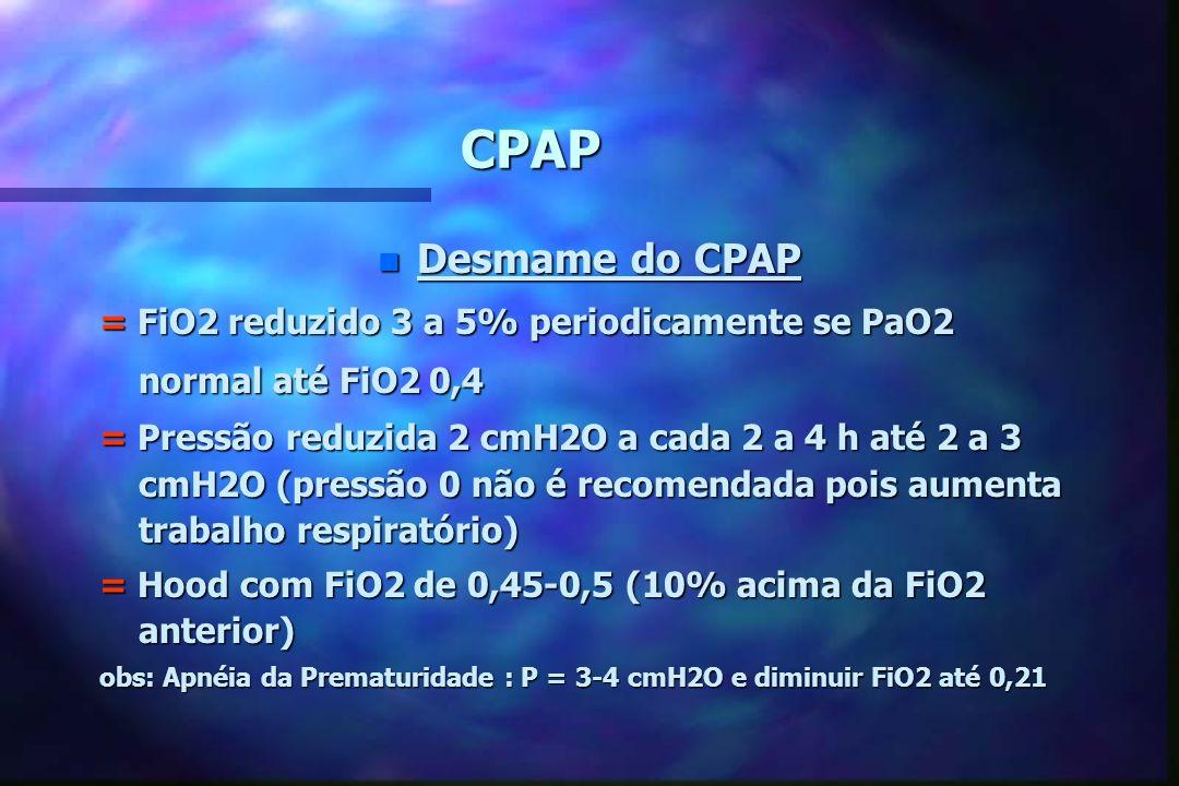 CPAP n Falência do CPAP PaO2 abaixo de 50 mmHg em FiO2 de 1,0 com Pressão de 10 a 12 cmH2O (?)