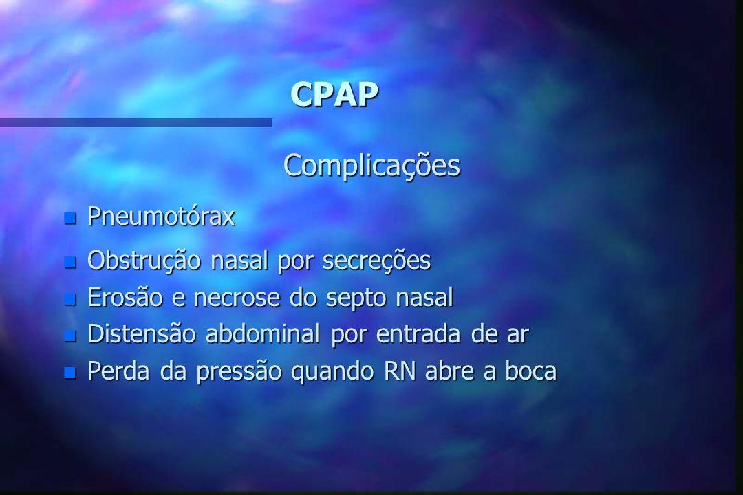 CPAP n Desmame do CPAP = FiO2 reduzido 3 a 5% periodicamente se PaO2 normal até FiO2 0,4 = Pressão reduzida 2 cmH2O a cada 2 a 4 h até 2 a 3 cmH2O (pr