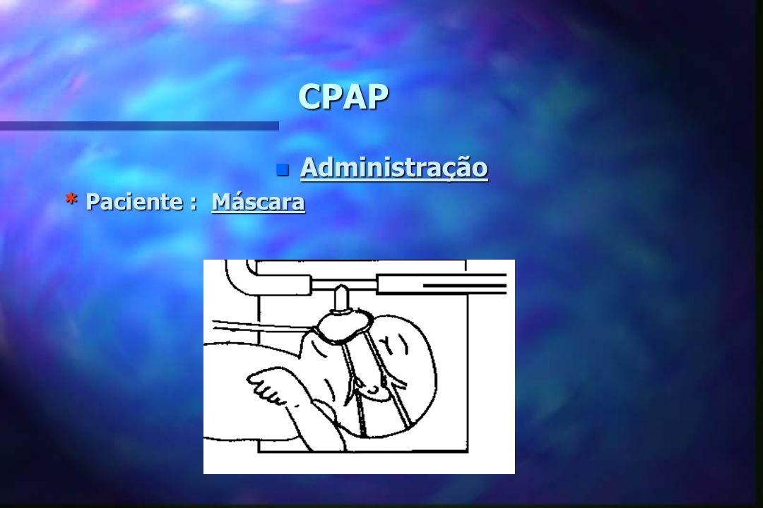 CPAP n Administração * Paciente : Tubo Traqueal a 3 cm na Nasofaringe