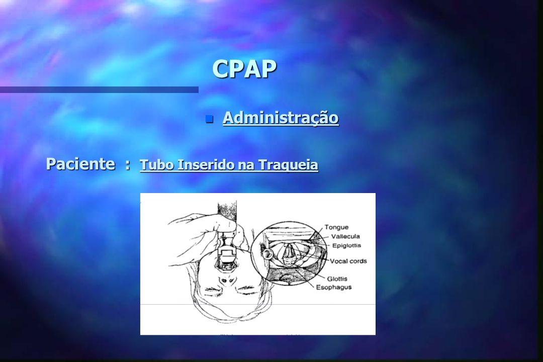 CPAP n Administração * Paciente : Prongas Nasais