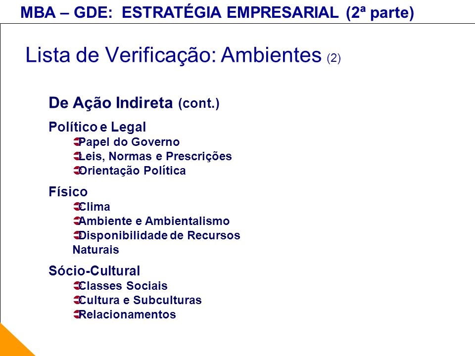 MBA – GDE: ESTRATÉGIA EMPRESARIAL (2ª parte) Lista de Verificação: Ambientes (2) De Ação Indireta (cont.) Político e Legal Papel do Governo Leis, Norm