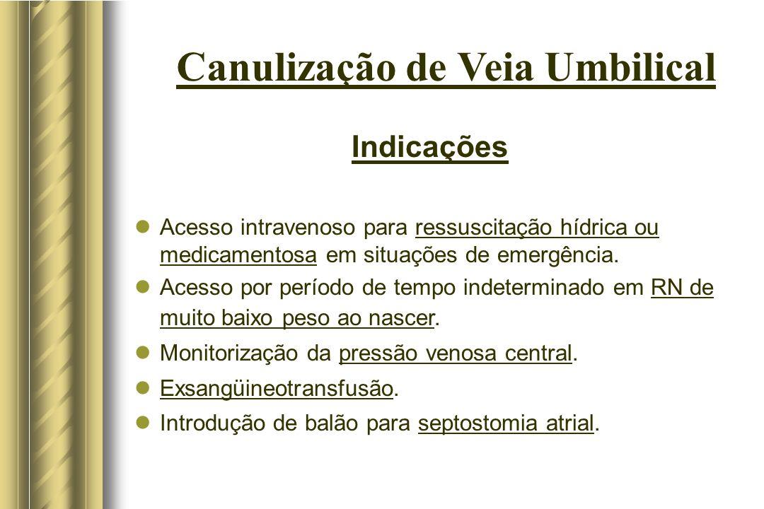 Canulização de Veia Umbilical Indicações Acesso intravenoso para ressuscitação hídrica ou medicamentosa em situações de emergência. Acesso por período