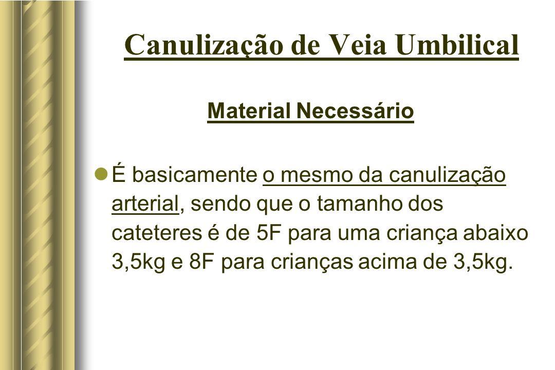 Canulização de Veia Umbilical Material Necessário É basicamente o mesmo da canulização arterial, sendo que o tamanho dos cateteres é de 5F para uma cr