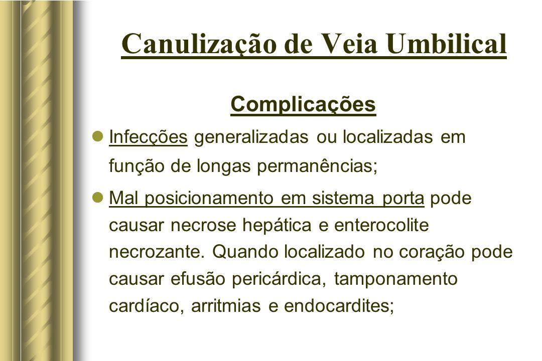 Canulização de Veia Umbilical Complicações Infecções generalizadas ou localizadas em função de longas permanências; Mal posicionamento em sistema port