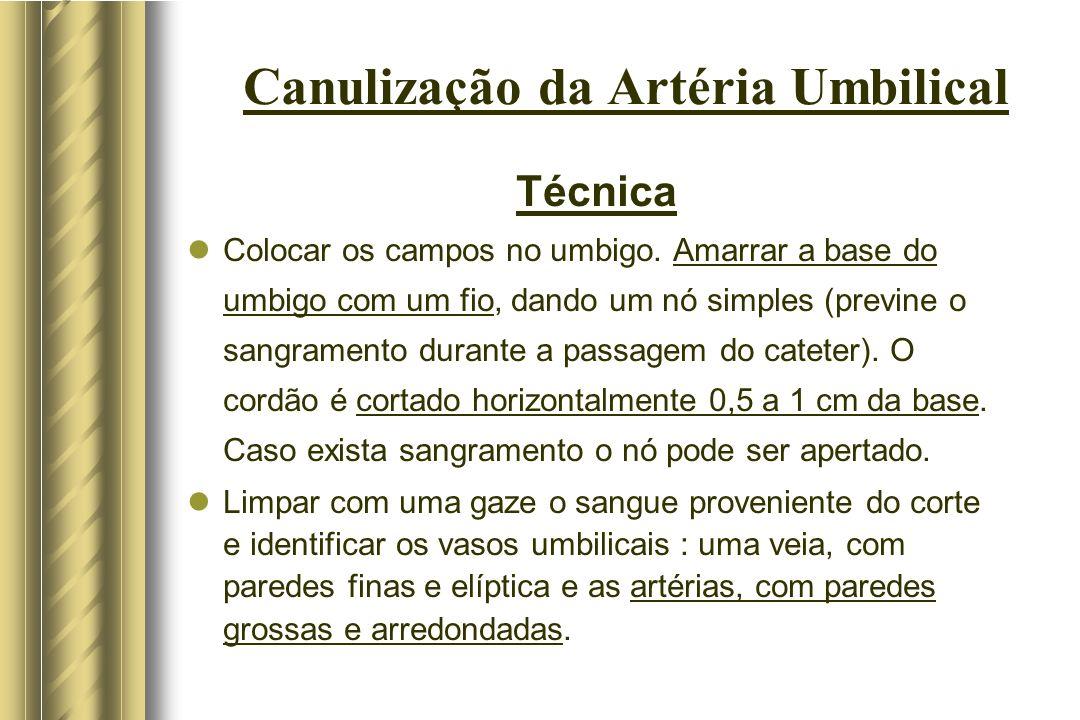Canulização da Artéria Umbilical Problemas na Passagem do cateter Penetração na Artéria Ilíaca : deve ser retirado e reintroduzido; a técnica do duplo cateter ou a outra artéria podem ser utilizadas.