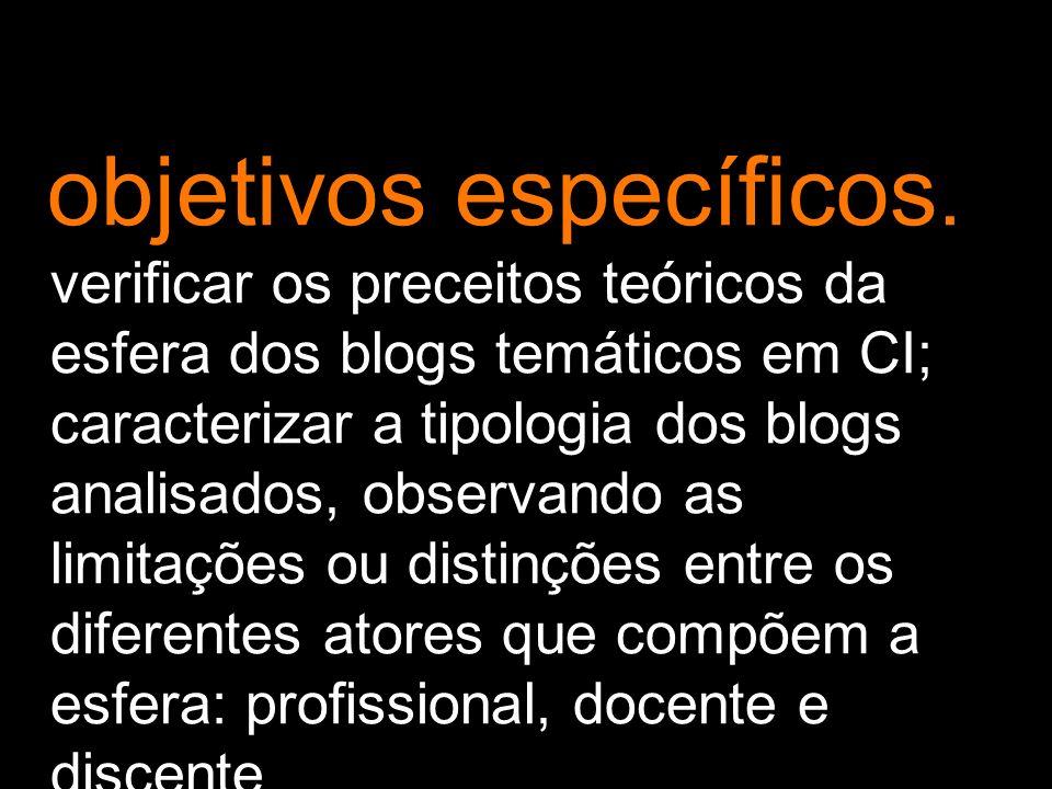 objetivos específicos. verificar os preceitos teóricos da esfera dos blogs temáticos em CI; caracterizar a tipologia dos blogs analisados, observando