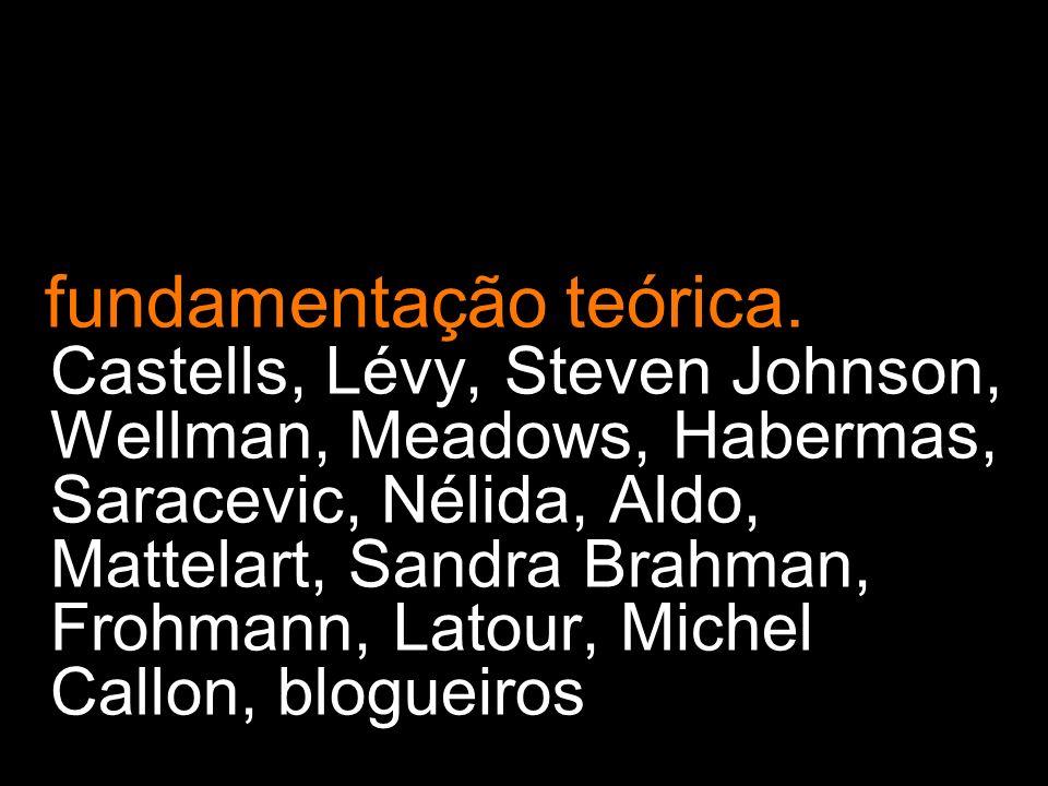 fundamentação teórica. Castells, Lévy, Steven Johnson, Wellman, Meadows, Habermas, Saracevic, Nélida, Aldo, Mattelart, Sandra Brahman, Frohmann, Latou